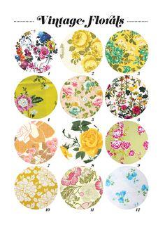 Vintage florals prints. Great inspiration for a vintage inspired nursery