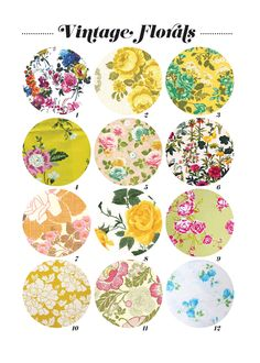 Vintage florals prints. Great inspiration for a vintage inspired nursery