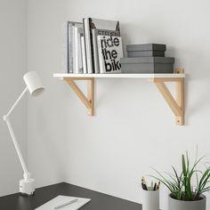 BURHULT / EKBY VALTER Wall shelf - white, birch - IKEA
