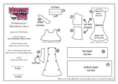 Monster High FL Draculaura dress pattern PART 1by ~TheUkelele via DeviantArt (check gallery for more patterns)      #doll #sewing #pattern