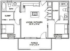 2 Bedroom Floor Plans, Cottage Floor Plans, Small House Floor Plans, Farmhouse Floor Plans, Modern House Plans, Cabin Floor Plans, Country Farmhouse, Guest House Plans, House Plans One Story