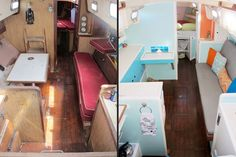 Not Quite Seasoned, but Very Well Salted: Before & Afters. Amazing turquoise and orange sailboat interior makeover. Used Sailboats, Small Sailboats, Sailboat Living, Living On A Boat, Sailboat Restoration, Sailboat Interior, Yacht Interior, Boat Projects, Diy Projects