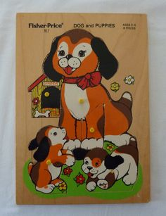 Vintage Fisher Price Wood Puzzle for Children - Dog and Puppies Complete Play Puzzle, Puzzle Toys, Dogs And Kids, Dogs And Puppies, Three Little Pigs, Vintage Fisher Price, Wooden Puzzles, Puzzle Pieces, Colorful Pictures