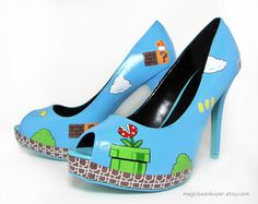 HandPainted Super Mario Heels  Ready to Ship  by magicbeanbuyer, $142.00