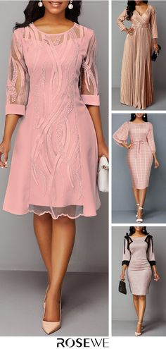 Hottest & Rosewe Women's Fashion Fall Pink Dresses - Enengo Tutorial and Ideas Pink Outfits, Pink Dresses, Casual Dresses, Latest African Fashion Dresses, Women's Fashion Dresses, Pink Fashion, Autumn Fashion, Womens Fashion, Cruise Dress