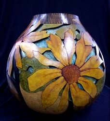 Sunblooms gourd by Jennifer Zingg, whose studio and gallery is located in downtown Frankfort.