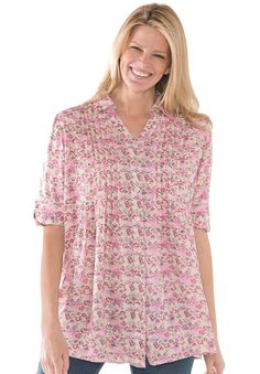 """This plus size button down tunic top is comfortable, lightweight and pretty. You'll love the easy fit. relaxed silhouette gives you plenty of room to move about comfortably 30"""" hangs to your upper thighs Y-neck with shirt collar for a feminine, easy look 3/4 roll-tab convertible sleeves shaped for comfort shirrtail hem, pintucks on either side of placket, button front for easy on/off soft, washable rayon knit, imported layer over comfy knit bottoms don't leave out the Comfortview® ..."""