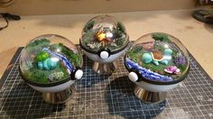 Man makes his own pokeball pokeglobes. Here's bulbasaur charmander and squirtle.