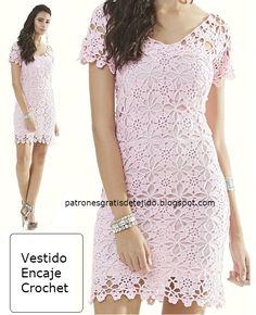 Delicado diseño para este vestido de encaje tejido con ganchillo. En la imagen de abajo verás los d...