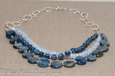 Blue Kyanite & Blue Lace Agate Hammered by MixedMediaDesigns1, $189.00