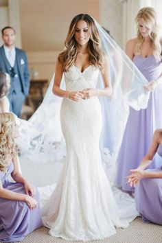 Sweetheart V Neck Sweep Train Wedding Dresses,Trumpet Lace Up Appliques Wedding Gown,SW65