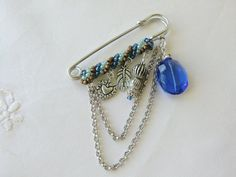 Blue Kilt Pin Charm Brooch Safety Pin by CharlotteJewelryBox