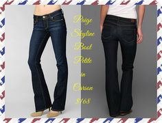 "Paige Skyline Bootcut Petite in Carson:  A mid-rise boot cut that is slim through the hips and thighs while maintaining a classic boot cut shape. This jean has been rescaled and specially tailored for a frame that is 5'4"" and under.  Front Rise: 8 1/8""  Inseam: 32""  Leg Opening: 20""  9.5 oz Fabric  80% Cotton, 19% Polyester, 1% Spandex  Available size 24-29"