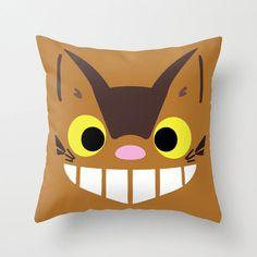 Catbus My Neighbor Totoro Throw Pillow 16x16 Kawaii Chibi Art Cover Anime Decorative Creature Manga Hayao Miyazaki Studio Ghibli Cat Bus Tan by CanisPicta