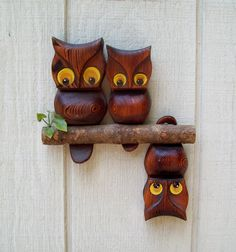 Vintage Wooden Perched Owls Wall Hanging by Raidersoflostloot, $11.50
