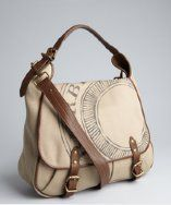 Burberry warm khaki canvas and leather messenger bag