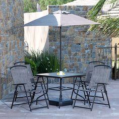 6 piezas. Estructura de acero con recubrimiento anticorrosivo. 4 sillas de tela tipo sling plegables. 1 mesa de .85 x .85 m con cubierta de vidrio templado. 1 sombrilla de 1.30 m.