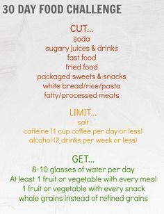 30 Day Food Challenge – great to kickstart any weight loss plan. Feel great, boost your energy, and detox.