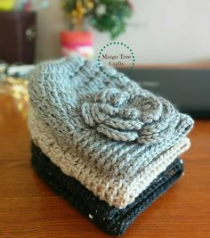 "65 Likes, 3 Comments - Lilia Garashchenko (@mango.tree.crafts) on Instagram: ""#Cozy stack of messy bun beanies ❄🎄☕ Stay tuned for a free pattern."""