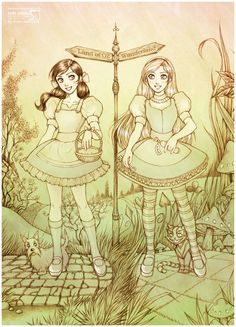 alice in wonderland and wizard of oz mural - Google Search