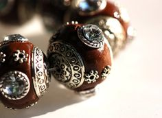 4 Unique Large CHOCOLATE BROWN Indonesian Clay Beads by SmartParts, $4.99