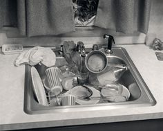 Kitchen Sink Full of Dirty Dishes Photographic Print by H. Dirty Kitchen, Kitchen Sink, Job Ads, Thing 1, Working Woman, Black And White Pictures, Cool Posters, Housekeeping, Cleaning Hacks