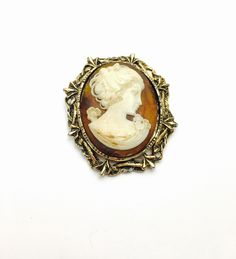 Large Vintage Cameo Brooch, Gold Tone, Art Deco, Victorian, Item No. B246 by ESTATENOW on Etsy https://www.etsy.com/listing/492990170/large-vintage-cameo-brooch-gold-tone-art