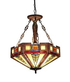 Chloe Lighting Tiffany Style 3 Light Inverted Ceiling Lamp CH33421AM20-UH3 #ChloeLighting #StainedGlass