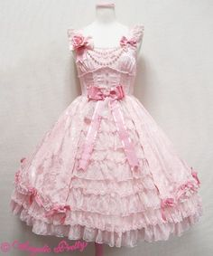 Princess of Roses JSK (Pink) - Angelic Pretty Harajuku Mode, Harajuku Fashion, Kawaii Fashion, Lolita Fashion, Cute Fashion, Fashion Outfits, Gothic Fashion, Outfits Kawaii, Kawaii Dress