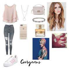 """georgeous"" by vivi-oliveira21 ❤ liked on Polyvore featuring Chicwish, Topshop, adidas, Botkier, Cartier, Casetify, Givenchy and Justin Bieber"