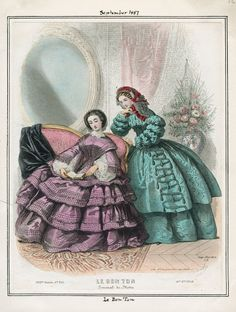 In the Swan's Shadow  Le Bon Ton, September 1857.  LAPL Visual Collections.  - See more at: http://theebonswan.blogspot.com/2013/09/le-bon-ton-september-1857.html#sthash.aV94VMRu.dpuf  Civil War Era Fashion Plate