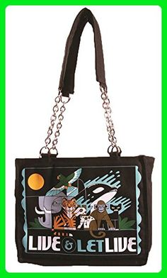 Calico Dragon Live and Let Live Animal Rights Canvas Vegan Tote Bag Purse Black - Totes (*Amazon Partner-Link)
