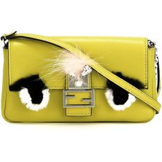 Fendi micro Baguette crossbody bag (1417445 IQD) ❤ liked on Polyvore featuring bags, handbags, shoulder bags, fur handbags, fendi shoulder bag, fendi handbags, fendi crossbody and yellow shoulder bag