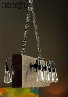 Reclaimed Wood Beam Rustic Industrial Chandelier is part of braids - Beautiful Reclaimed Wood Beam Chandelier with burned wood, black sockets and chains Available in any color and configuration 48 x 12 x 3 5 with 8 sockets (as shown) Rustic Industrial Furniture, Vintage Industrial Furniture, Rustic Lamps, Rustic Lighting, Rustic Decor, Lighting Ideas, Rustic Wood, Industrial Style, Industrial Farmhouse