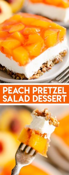 Pretzel Salad Dessert Peach Pretzel Salad Dessert is a fresh summer twist on the classic fruit and jello pretzel dessert using fresh or canned peaches.Peach Pretzel Salad Dessert is a fresh summer twist on the classic fruit and jello pretzel dessert using Jello Pretzel Desserts, Köstliche Desserts, Delicious Desserts, Fruit Jello, Fruit Deserts Recipes, Pretzel Recipes, Recipes With Canned Fruit, Jello Pretzel Salad, Fresh Fruit Desserts