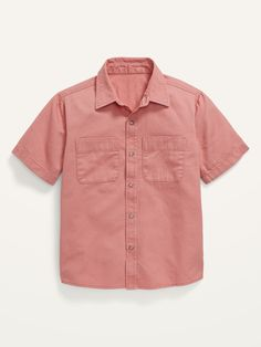 Short-Sleeve Button-Front Utility Shirt for Boys | Old Navy Baby Boy Tops, Carters Baby Boys, Toddler Boys, Toddler Outfits, Kids Outfits, Old Navy Kids, Boys Shirts, Button Up Shirts, Buttons