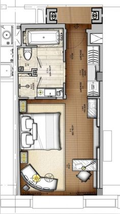 Over 100 small studio apartment layout design ideas - paguponhome - Hotel Room Design, Small Room Design, Design Bedroom, Apartment Bedroom Decor, Apartment Plans, Hotel Apartment, Hotel Floor Plan, Studio Apartment Layout, Studio Layout