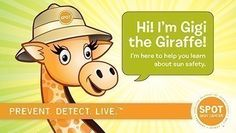 Teach kids about sun safety the fun with with Gigi the Giraffe, created by the American Academy of Dermatology.