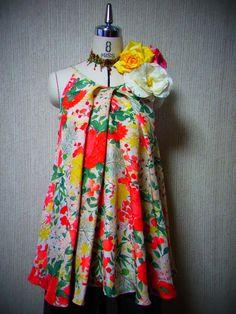 Vintage Four-Seasons Flower Kimono Flared Top