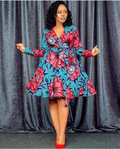 African Print Wrap Dress- Flare Dress - Ankara -An African Party Dresses, Short African Dresses, Ankara Short Gown Styles, Latest African Fashion Dresses, African Print Dresses, African Print Fashion, African Prints, African Dress Patterns, African Print Dress Designs