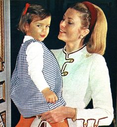 Princess Grace, with daughter, Princess Stephanie, The exquisite details of the Chanel suit jacket are visible in this photo. The suit is on display at the McCord Museum exhibit in Montreal.  Photo credit  Reginald Davis. Libelle (Dutch) January 1969