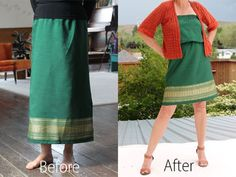 Change a long skirt into a beautiful dress with a few hand stitches, a belt and a little imagination.