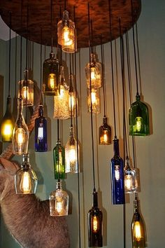 Salvaged Liquor Bottle Chandelier #home #decor www.loveitsomuch.com