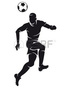 Vector football (soccer) player silhouette with ball isolated photo