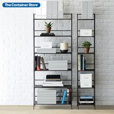 Beautiful, functional freestanding shelving solutions for spaces big and small! (Shown: 6-Shelf Iron Folding Bookshelf and 6-Shelf Iron Folding Tower) Shelves, Bookshelves, Storage Spaces, Interior Furniture, Bookcase, Narrow Bookshelf, Guest Room Office, Shelving Solutions, Shelving
