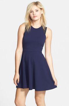 Junior Women's Lush Lace Trim Skater Dress Blue Small