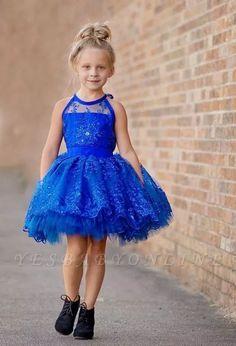 Newest Royal Blue Lace Appliques 2016 Flower Girl Dress Halter Puffy Mini gownsforgirls Little Girl Pageant Dresses, Cute Flower Girl Dresses, Tulle Flower Girl, Prom Dresses, Royal Blue Flowers, Blue Lace, Blue Ivory, Dresser, Girls Dresses Online