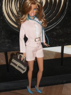Barbie Doll Clothes - Peach Plaid Shorts Suit, Handbag made from recycled clothing via Etsy
