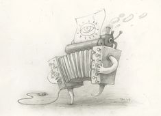 Lost Thing film concept art: Accordio Pencil on paper by Shaun Tan. See Shaun Tan's available art and biography. Shaun Tan, Michael Sowa, Art Studies, Concept Art, Pencil, Film, Gallery, Drawings, Paper