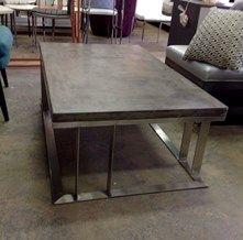 Rectangle Concrete Brushed Steel Coffee Table